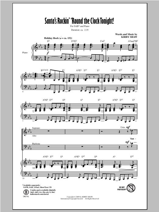 Partition chorale Santa's Rockin' 'Round The Clock Tonight! de Kirby Shaw - SAB