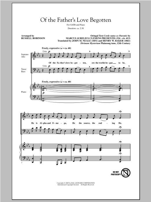 Partition chorale Of The Father's Love Begotten de Russell Robinson - SATB