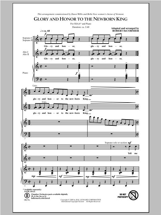 Partition chorale Glory Hallelujah To The Newborn King de Robert DeCormier - SSA
