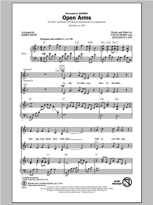 Partition chorale Open Arms de Journey - SSA