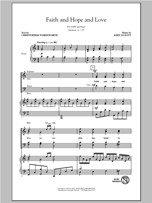 Partition chorale Faith And Hope And Love de John Leavitt - SATB