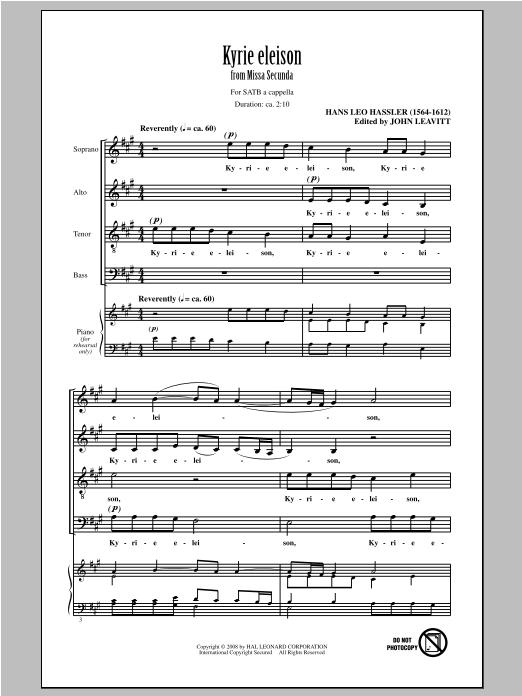 Partition chorale Kyrie Eleison de Hans Leo Hässler - SATB