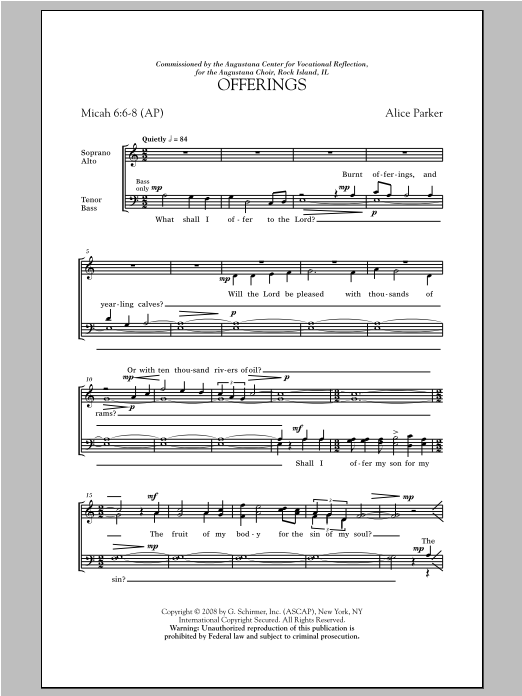 Partition chorale Offerings de Alice Parker - SATB