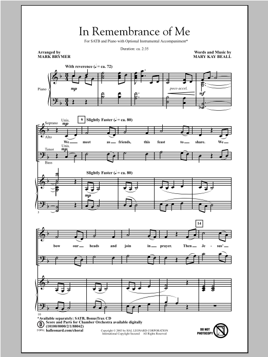 Partition chorale In Remembrance Of Me de Mary Kay Beall - SATB