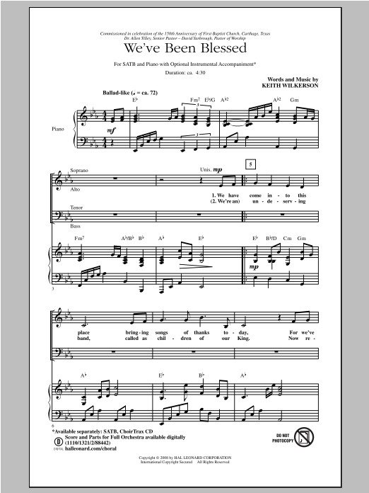 Partition chorale We've Been Blessed de Keith Wilkerson - SATB