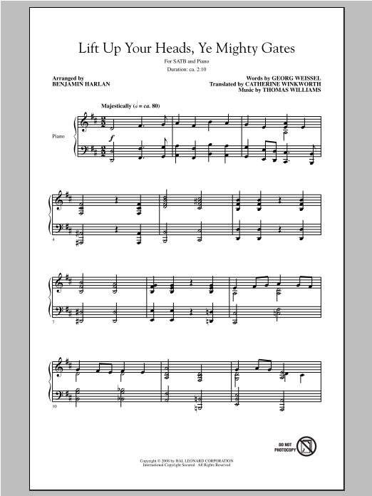 Partition chorale Lift Up Your Heads, O Mighty Gates (Lift Up Your Heads, Ye Mighty Gates) de Benjamin Harlan - SATB