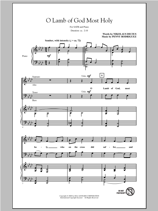 Partition chorale O Lamb Of God Most Holy de Penny Rodriguez - SATB
