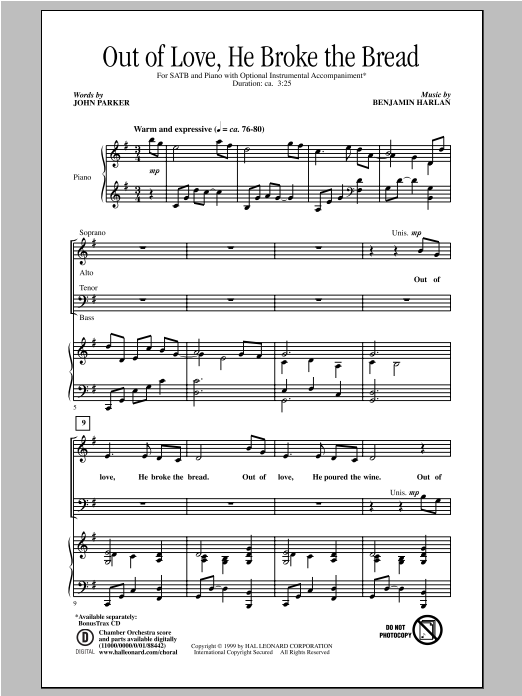 Partition chorale Out Of Love, He Broke The Bread de Benjamin Harlan - SATB