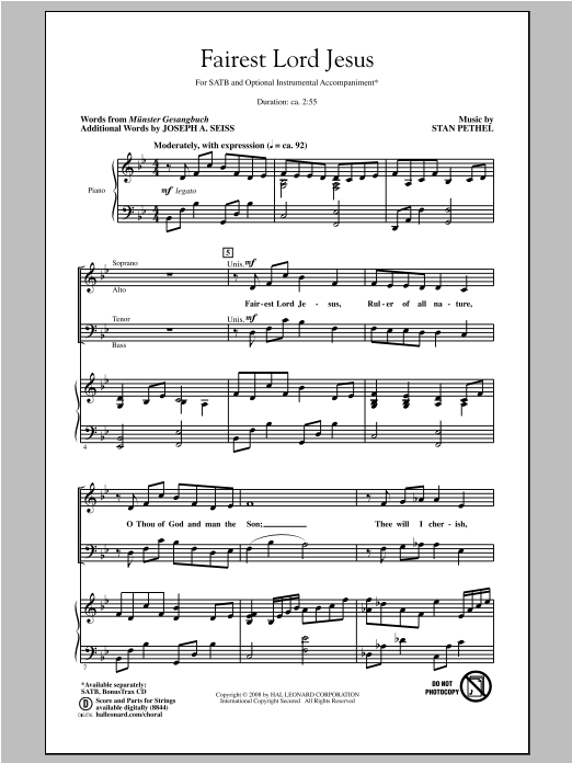 Partition chorale Fairest Lord Jesus de Stan Pethel - SATB