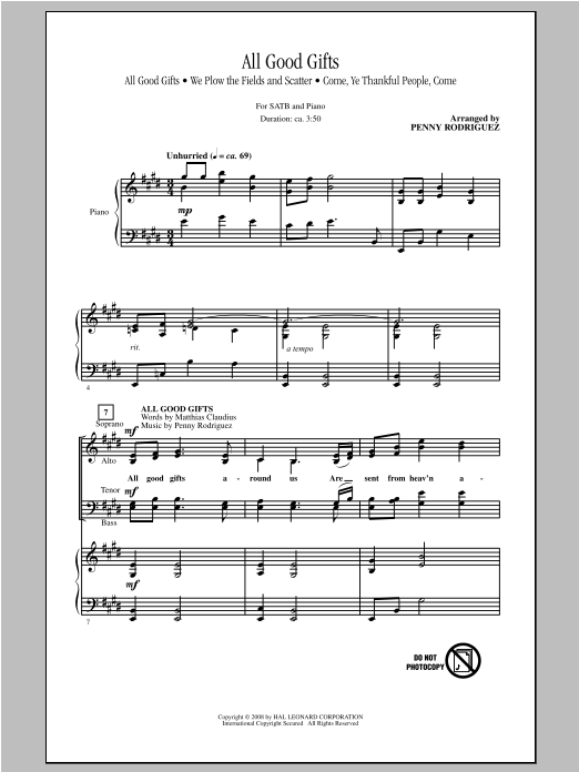 Partition chorale All Good Gifts de Penny Rodriguez - SATB