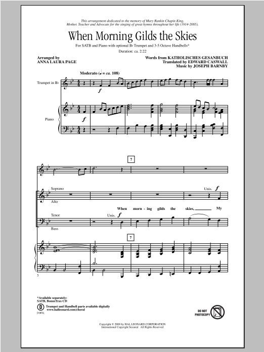Partition chorale When Morning Gilds The Skies de Anna Laura Page - SATB