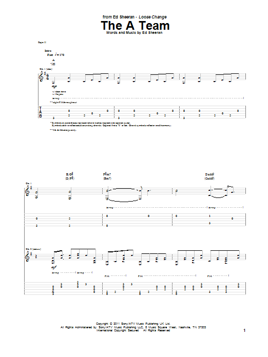 The A Team sheet music for guitar solo (tablature) by Ed Sheeran