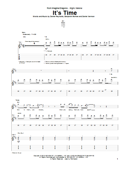 It's Time sheet music for guitar solo (tablature) by Imagine Dragons