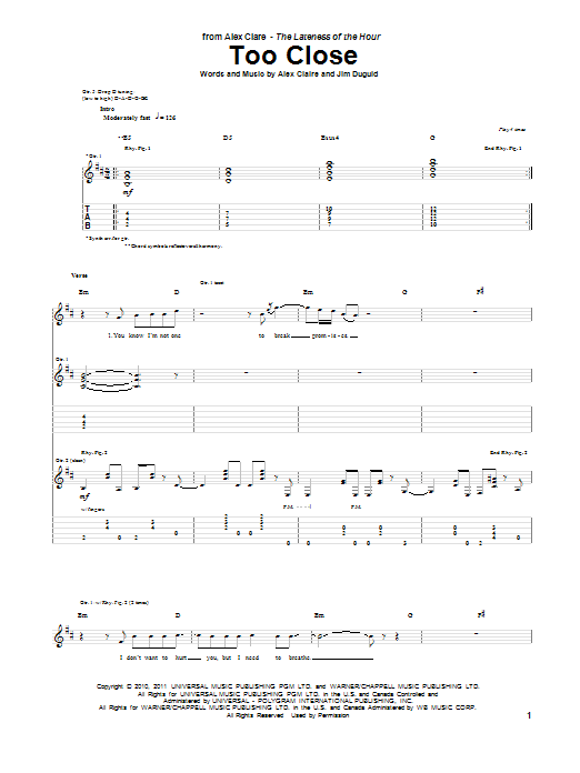 Too Close sheet music for guitar solo (tablature) by Alex Claire