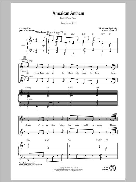 Partition chorale American Anthem de Gene Scheer - SSA