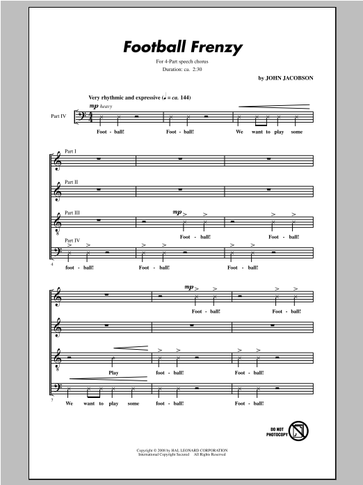 Partition chorale Football Frenzy de John Jacobson - 4 voix