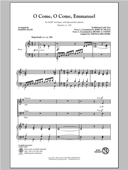 Partition chorale O Come, O Come, Emmanuel de Martin Ellis - SATB