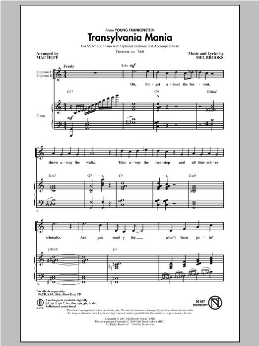 Partition chorale Transylvania Mania de Mel Brooks - SSA