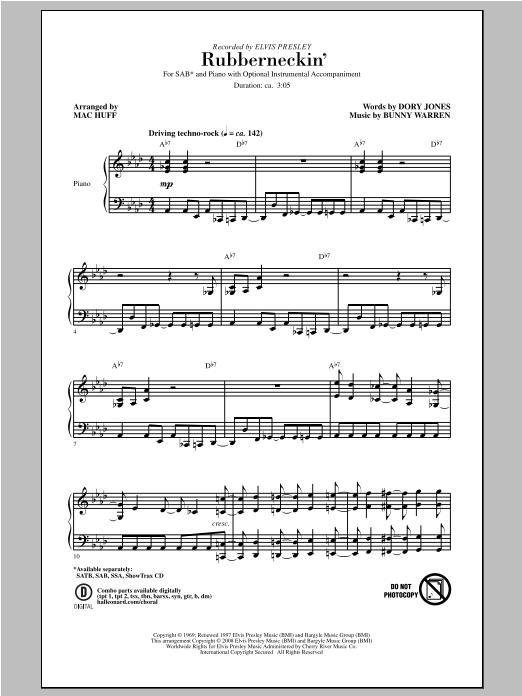 Partition chorale Rubberneckin' de Elvis Presley - SAB