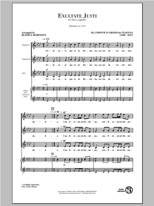 Partition chorale Exultate Justi de Lodovico Grossi da Viadana - SSA