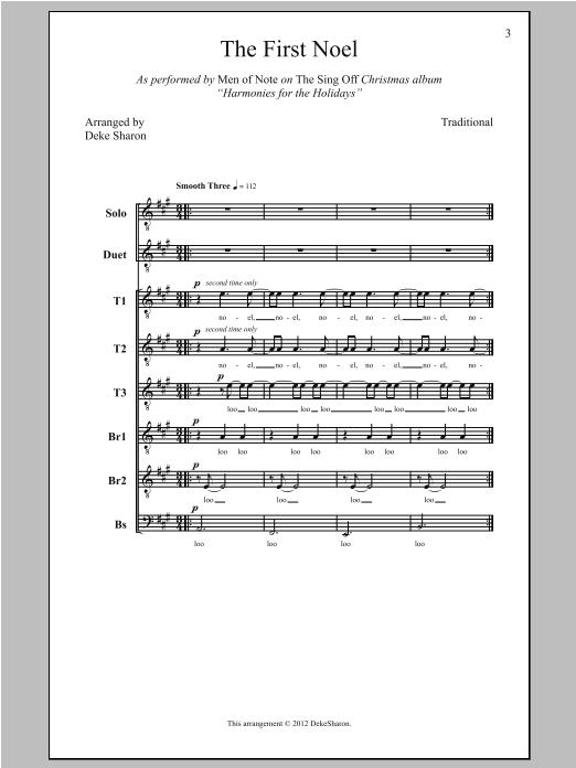 Partition chorale The First Noel de Deke Sharon - TTBB