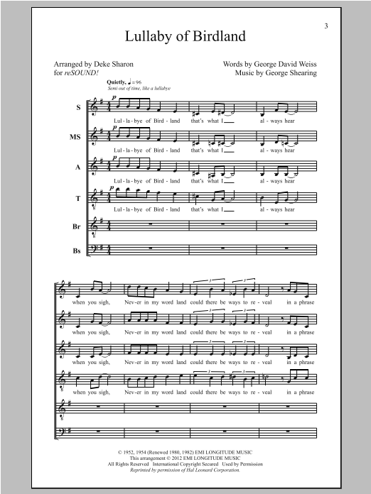 Partition chorale Lullaby Of Birdland de Deke Sharon - SATB
