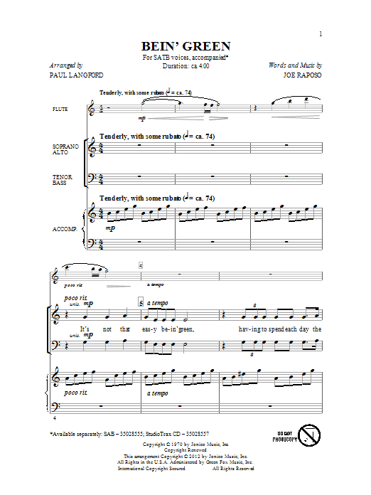 Partition chorale Bein' Green de Paul Langford - SATB