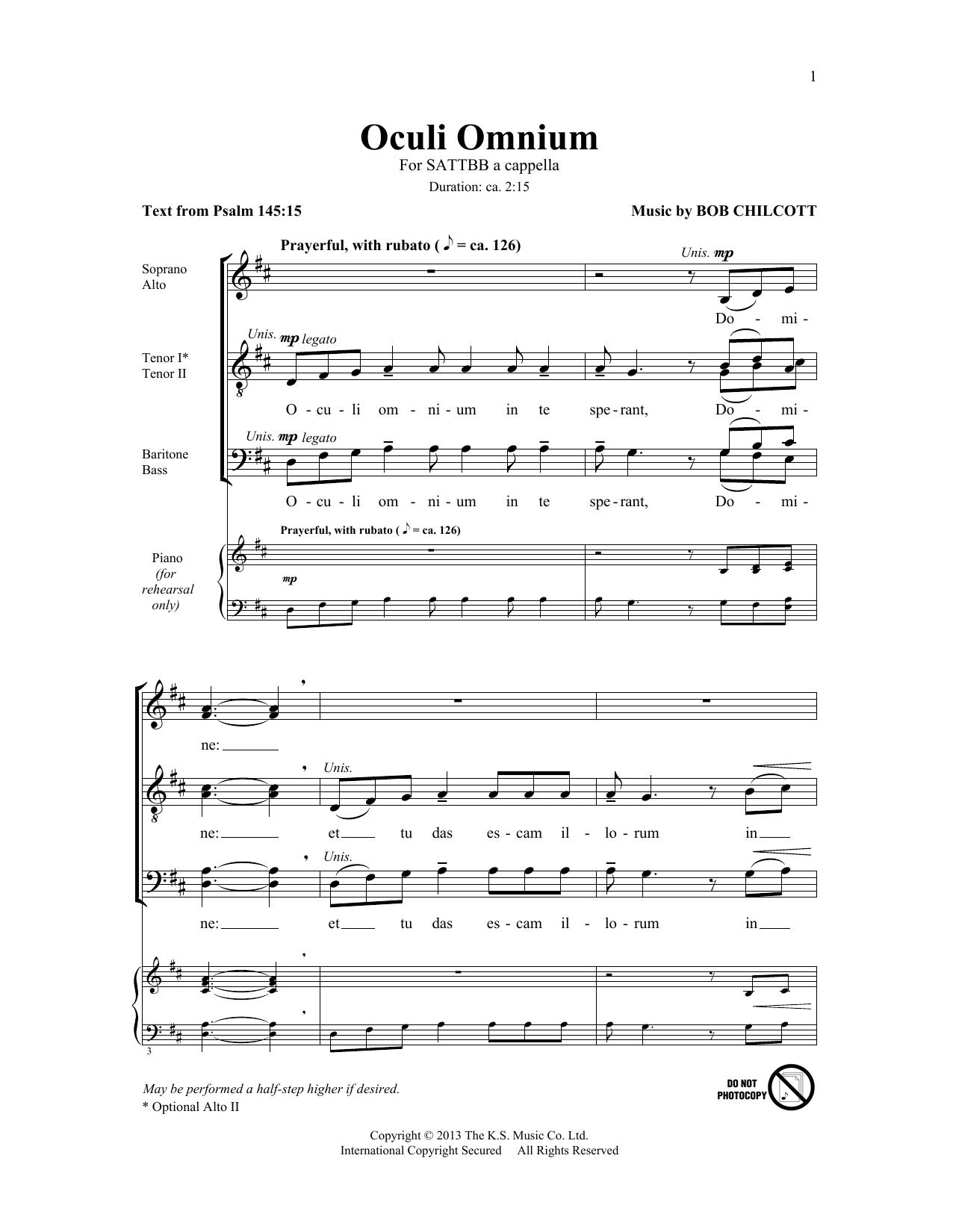 Partition chorale Oculi Omnium de The King's Singers - SATB