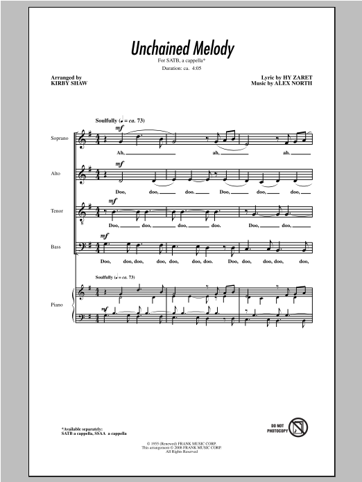 Partition chorale Unchained Melody de Kirby Shaw - SATB