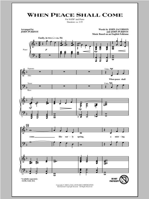 Partition chorale When Peace Shall Come de John Purifoy - SATB