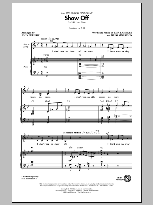 Partition chorale Show Off (from The Drowsy Chaperone) de John Purifoy - SSA