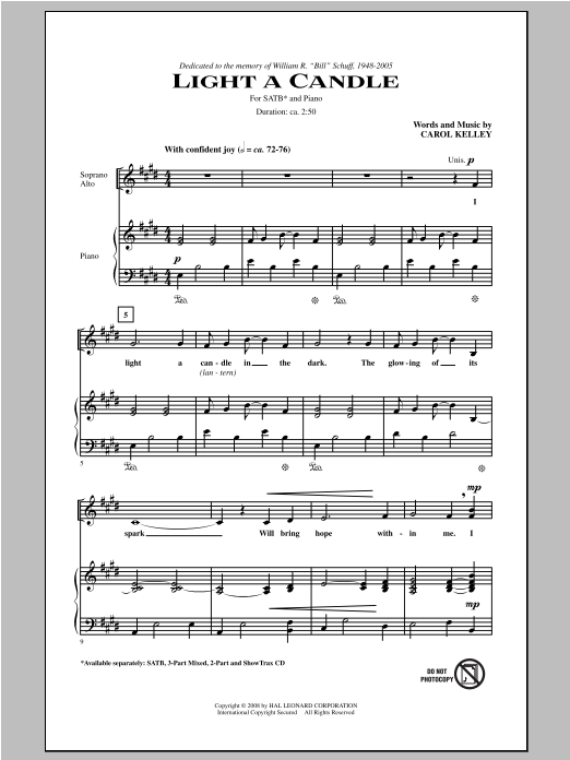 Partition chorale Light A Candle de Carol Kelley - SATB