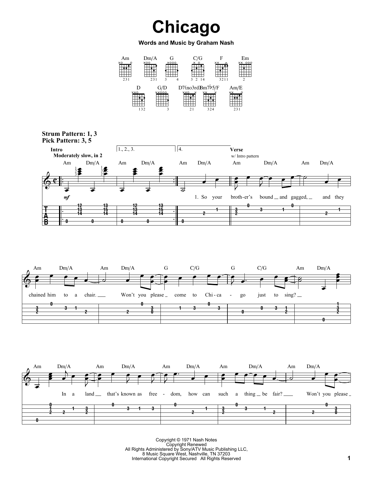 Tablature guitare Chicago de Crosby, Stills & Nash - Tablature guitare facile