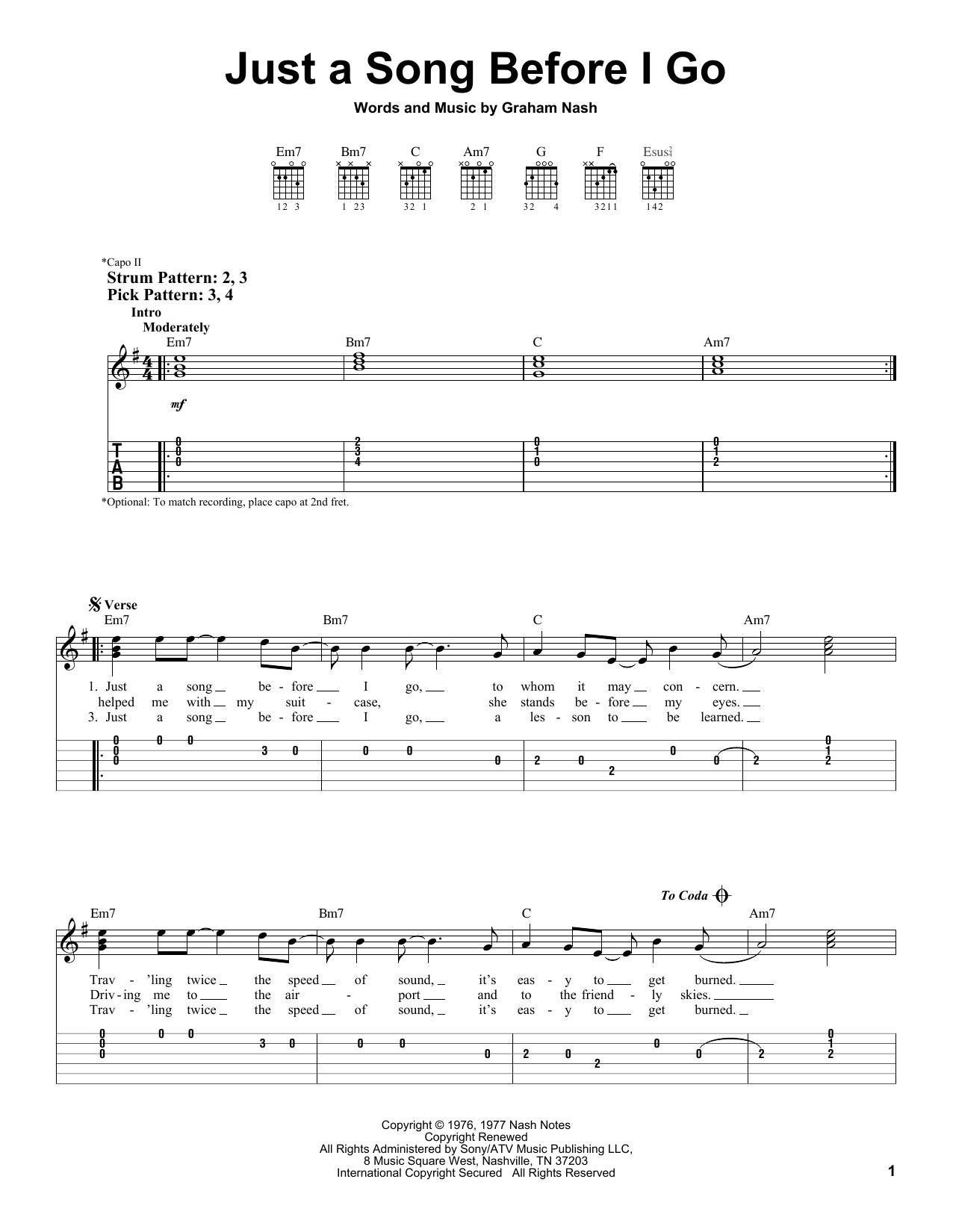 Tablature guitare Just A Song Before I Go de Crosby, Stills & Nash - Tablature guitare facile