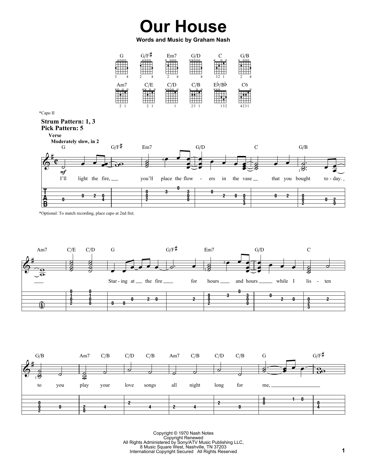 Tablature guitare Our House de Crosby, Stills, Nash & Young - Tablature guitare facile