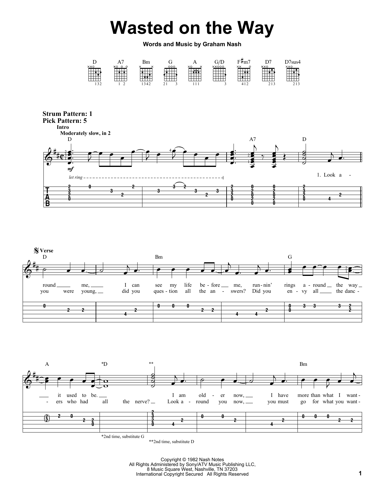 Tablature guitare Wasted On The Way de Crosby, Stills & Nash - Tablature guitare facile