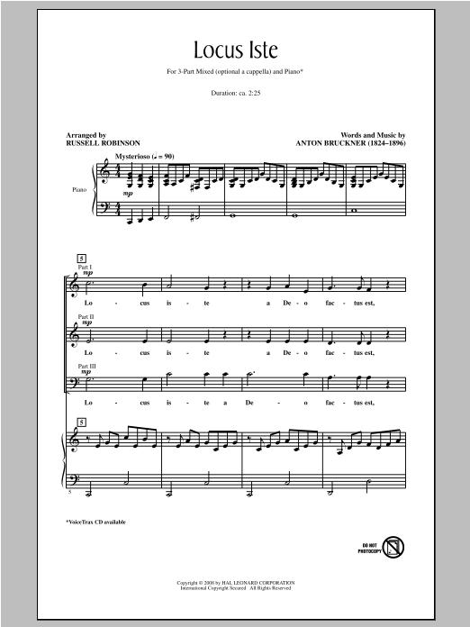 Partition chorale Locus Iste de Russell Robinson - 3 voix mixtes