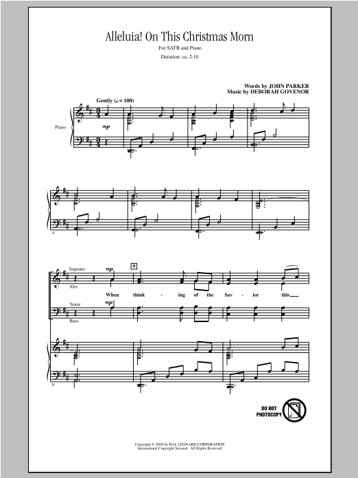 Partition chorale Alleluia! On This Christmas Morn de John Parker - SATB
