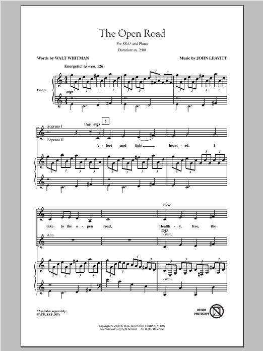Partition chorale The Open Road de Walt Whitman - SSA