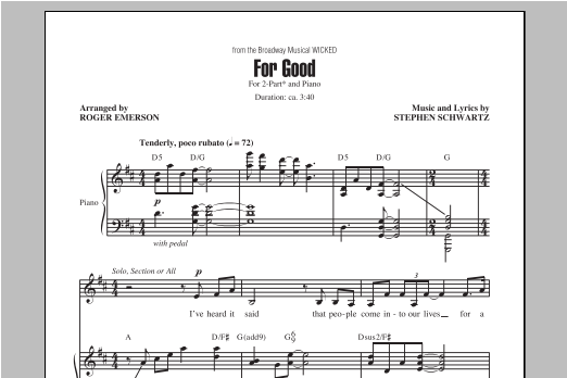 Partition chorale For Good de Roger Emerson - 2 voix