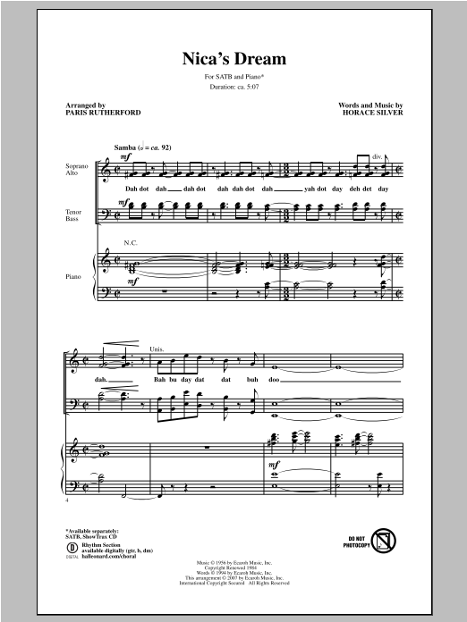 Partition chorale Nica's Dream de Paris Rutherford - SATB