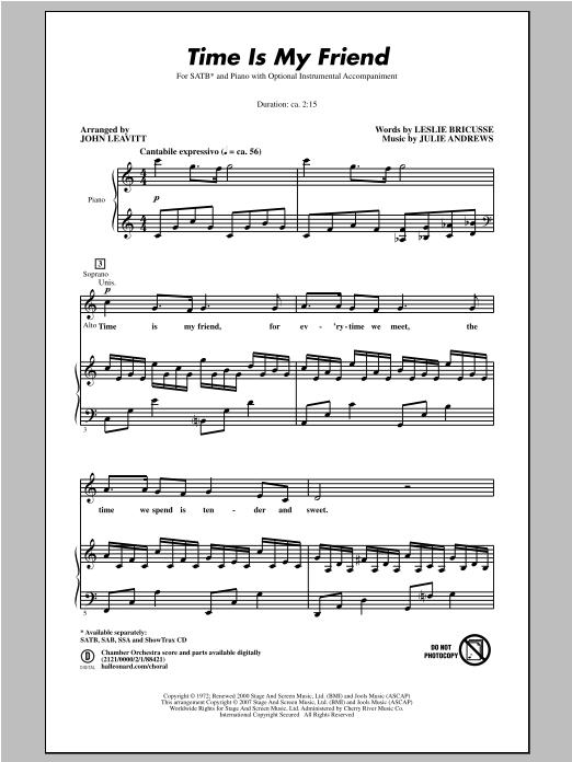 Partition chorale Time Is My Friend de John Leavitt - SATB