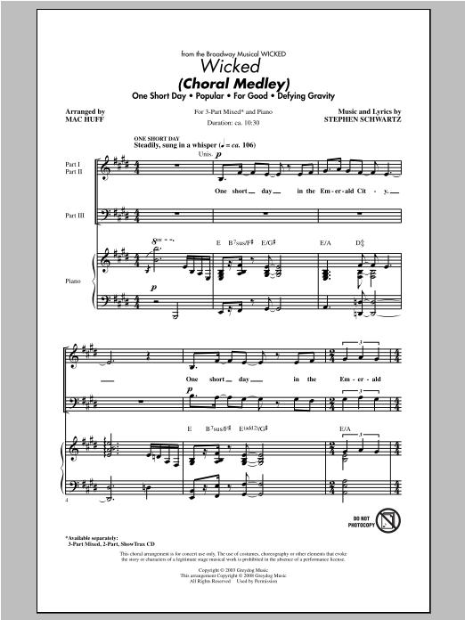 Partition chorale Wicked (Choral Medley) de Stephen Schwartz - 3 voix mixtes