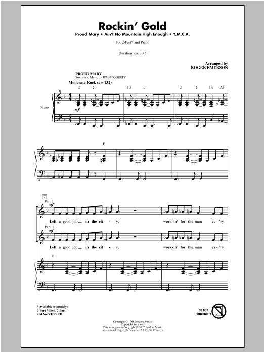 Rockin' Gold (Medley) sheet music for choir and piano (duets) by Roger Emerson
