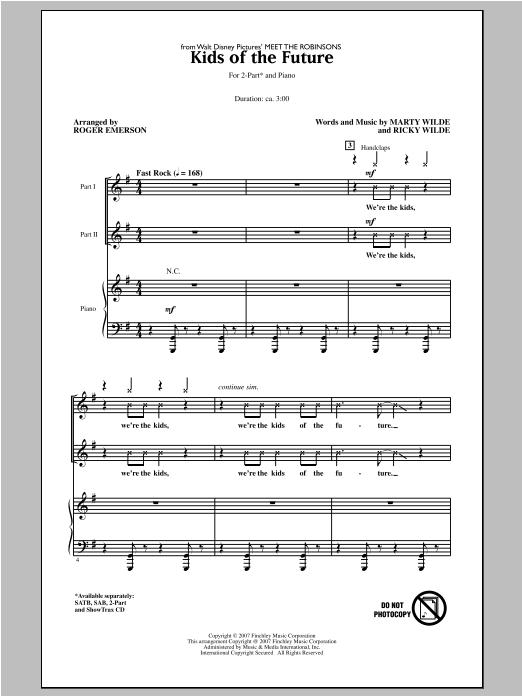Partition chorale Kids Of The Future de Roger Emerson - 2 voix