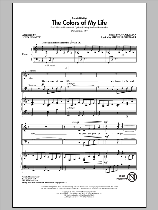 Partition chorale The Colors Of My Life de John Leavitt - SAB
