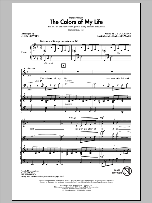 Partition chorale The Colors Of My Life de John Leavitt - SATB
