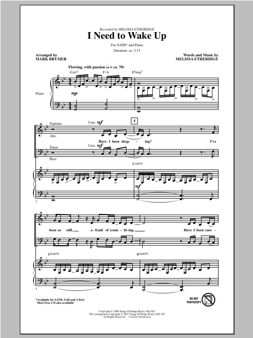 Partition chorale I Need To Wake Up de Melissa Etheridge - SATB