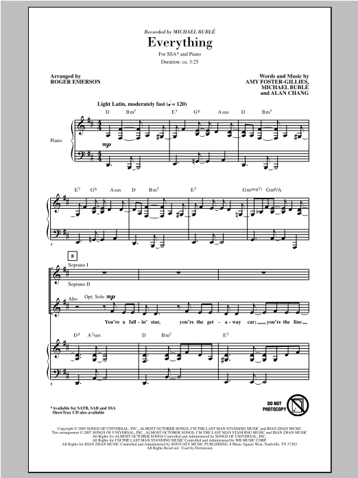 Partition chorale Everything de Michael Bublé - SSA