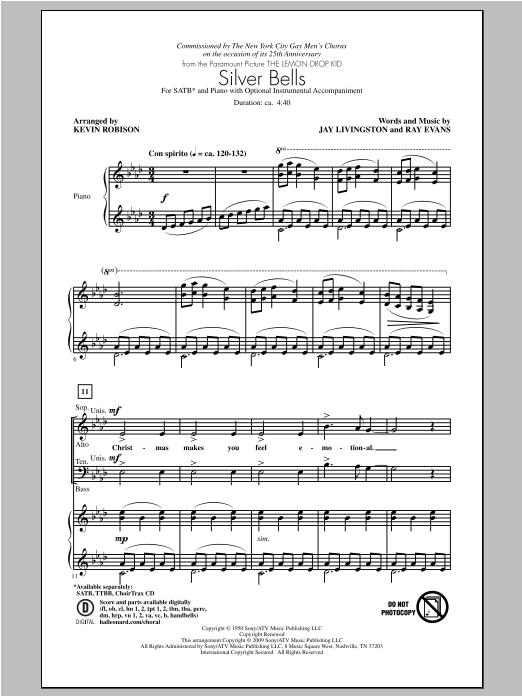 Partition chorale Silver Bells de Kevin Robison - SATB